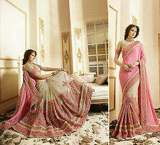 Indian Party Wear Beige Pink Saree Sari Designer Bridal Pakistani Wedding Saree