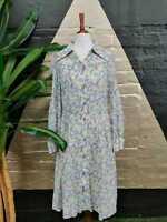 Original Vintage 1980s Cotton Light Blue/Purple Ditsy Floral Button Down Dress