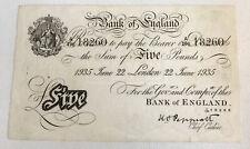 More details for british banknote. white fiver / five pounds. dated 1935. peppiatt. 'a' prefix.
