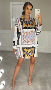 Womens Ladies Shirt Dress Baroque Scarf Print Oversized Lose Button Up Smock