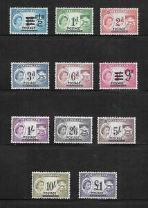 1963 SET NYASALAND POSTAGE STAMPS - SG 188-198 MLH COMMONWEALTH - SURCHARGE.