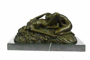 Genuine Bronze Metal Statue Marble Nude Women Lesbian Art Love Signed Sculpture