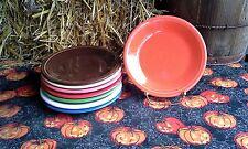 "Set 8 SALAD PLATE chocolate flamingo scarlet HOMER LAUGHLIN FIESTA WARE 7.25"""