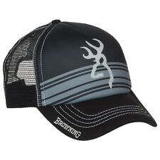 BROWNING Buckmark Logo Cruiser Trucker Hat Baseball Cap Black Grey - New