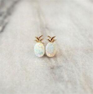 Opal Sparkly Fruit Pineapple Gold Stud Earrings For Women Girls Summer Jewelry