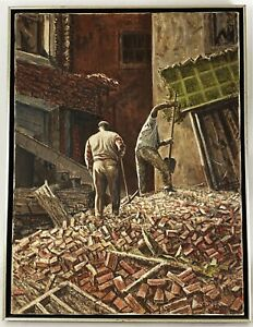 Vintage African American Painting Signed Christian 67 Bricks Construction Site