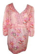H&M Womens Fashion Pink Floral Casual 3/4 Sleeve Cotton VNeck Blouse sz 20 Y60