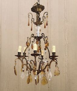 1920's French Gilded Crystal Chandelier European Paris Apartment Chic Antique