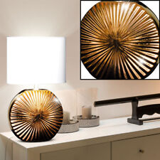 Design table light living sleep room fabric switch ceramic lamp bronze white new