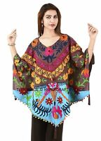 Indian Suzani Hand Embroidered Poncho Cotton Top style One Size Hippy Kaftan 4X