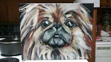Abstract Original Pekingese Dog Painting Susan Dunn South Carolina pup puppy