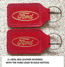 2X FORD LEATHER KEY FOB RING FOCUS,FIESTA,KUGA,MONDEO,ST,KA,CMAX,SMAX,