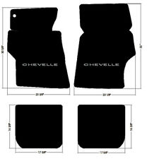 NEW! 1966-1967 CHEVELLE Floor Mats Black Carpet Embroidered SILVER LOGO SET OF 4
