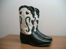 Vintage Womens 7 ACME Black White Leather Inlaid Hearts Western Cowboy Boots
