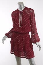PAIGE Shanti V-Neck Chiffon Short Tassel Tie Smocked-Waist Pullover Dress S NEW