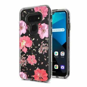 For LG Xpression Plus 3 (2020) Floral Glitter Design Case Phone Cover