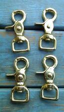"Lot 4 Solid Brass Trigger Scissor Rein Snaps Flat Square End Swivel 1"""