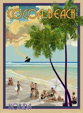 Cocoa Beach, FL -Vintage Art Deco Style Travel Poster-by Aurelio Grisanty