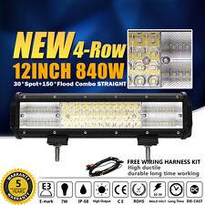 9D12Inch 840W LUMILEDS Led Spot Flood Combo Quad Rows Light Bar VS TRI ROW TRUCK