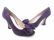 $790 MIU MIU Purple Suede Leather Victorian Bow Peep Open Toe Pumps Heels 40 10