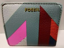 Fossil Women's Madison Bifold ID Wallet Vegan Multi Color Block NWT