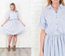 Cotton Blend Dresses for Women with Buttons Stripes