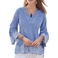 Sundance Catalog blue embroidery top M Boho Beach lightweight bell sleeve Cotton