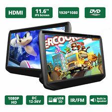 "Portable Slim 2x 11.6"" HD LCD Screen Car Headrest TV Monitor DVD/USB/HDMI Player"
