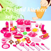 Pretend Kitchen Play Set for Kids 43 Pcs Pink Cooking Bake Food Toys Girls