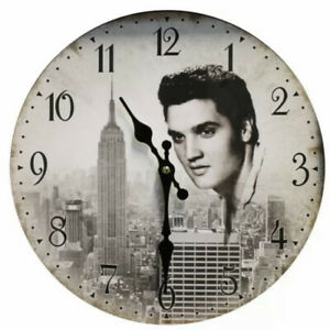Wooden Wall Clock - Elvis Presley (Black & White) Design (30cm) Brand New Boxed