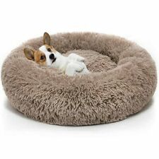Warm Fleece Dog Bed Round Pet Lounger Cushion For Small Medium Large Dogs Cat Wi