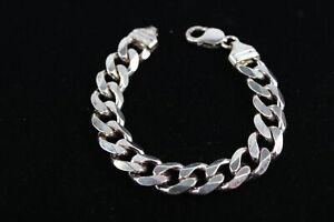 .925 Sterling Silver Chunky Flat Curb Link Gents BRACELET (52g)