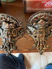 Pair Gothic gargoyle wall shelf ~ cast iron ~ antiqued bronze