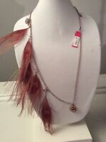 $58 Betsey Johnson Long  Peacock Feather & Skull Charm  Necklace  AB 512