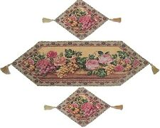 DaDa Bedding Romantic Floral Fruit Roses Tapestry Table Runners Placemat Set 3PC