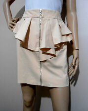 CUE size 8 peach coloured stretch SKIRT with exposed front zip & peplum frill