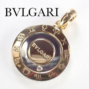 Authentic BVLGARI Pendant Diamond Horoscope 18K/SS 750 Yellow Gold