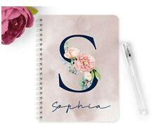 Personalised Notebook Notepad A5 Wedding Planner Party Navy Peach Watercolour