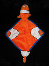 Doudou plat losange Poisson Clown Némo Impexit orange blanc bleu 48 cm