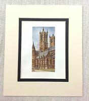 1906 Antico Stampa Lincoln Cathedral The West Torri Vecchio Inglese Architettura