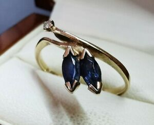 Genuine 9ct 9k Yellow Gold Sapphire and Diamond Ring - size 7.75 or O.5 - 2.02g