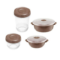 8pc MICROWAVE POT Food Bowl STORAGE CONTAINER Vented Microwavable Pots BROWN