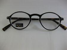 OLIVER ROUND Retro Black & Tortoise Hornrim Spring Temple Reading Glasses +1.50
