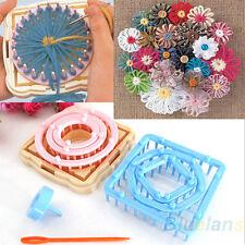 9PCS Knitting Loom Crochet Flower Maker Wool Yarn Needle Home Craft DIY Kit BD2U
