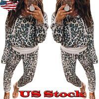 Women Casual 2PCS Leopard Printed Hoodies Top + Long Pants Sport Suit Tracksuit