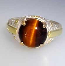 Men`s Vintage Sterling Silver 18k Gold Tiger`s Eye Cabochon Ring Sz: 9.5