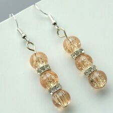 New Crackle Glass Drop Earrings With Sterling Silver Hooks LB432