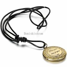 Mens Womens Bronze Tone Hollow Round Gothic Flower Photo Frame Pendant Necklace