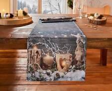 Tischläufer Winter Tischdecke Tischband Kerzen Tischdeko Weihnachten 40 x 140 cm