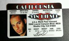 VIN DIESEL XXX MARK PAUL VINCENT CA COSPLAY SOUVENIR DRIVERS BADGE CARD LICENSE